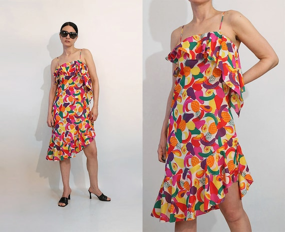 Hanae Mori Rainbow Fruit Dress / Vintage 1980s Rar