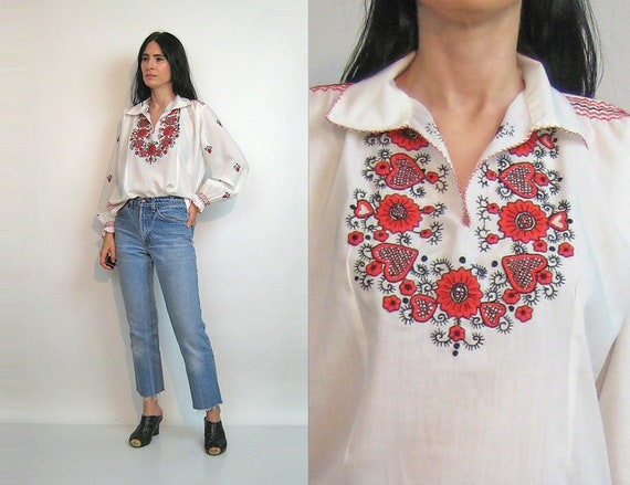 70s Embroidered Gauze Blouse / Vintage 1970s Red +