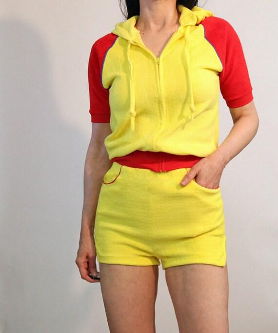 70s Color Block Shorts Set / Vintage 1970s Canary… - image 5
