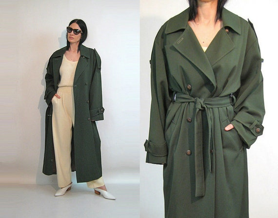 Olive Wool Trench / Vintage 1980s Oversized Army G
