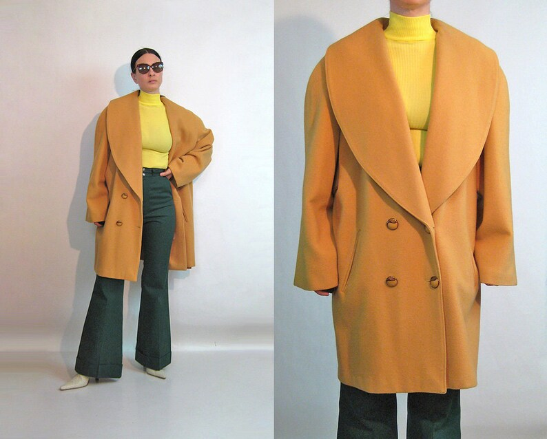 Lighter Oversized Camel Coat / Vintage 1980s Minimalist image 0