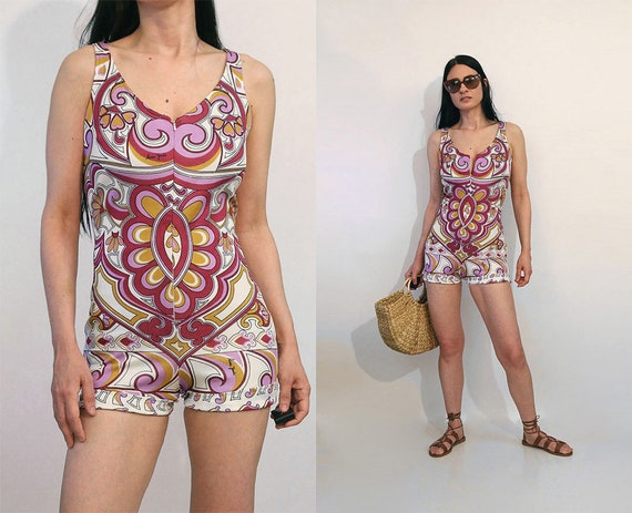 60s French Paisley Zip Swimsuit Romper / Vintage 1
