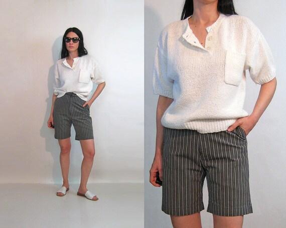 White Pocket Knit Top / Vintage 1980s Oversized Wh