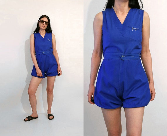 50s Sleeveless Gym Romper / Vintage 1950s Blue Cot