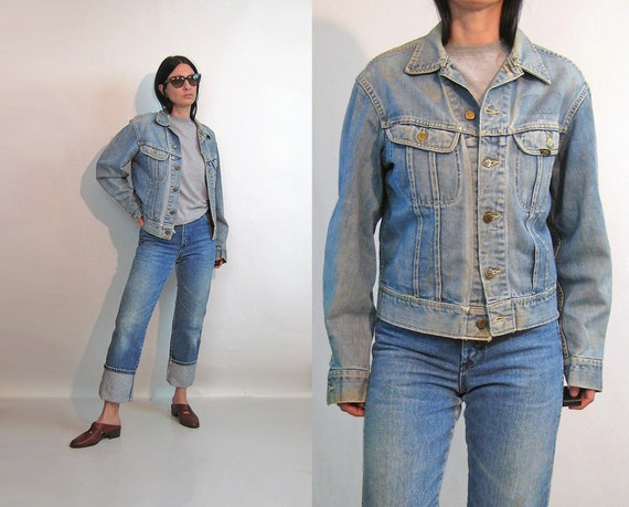 60s Faded Lee Denim Jacket / Vintage 1960s Sanfori