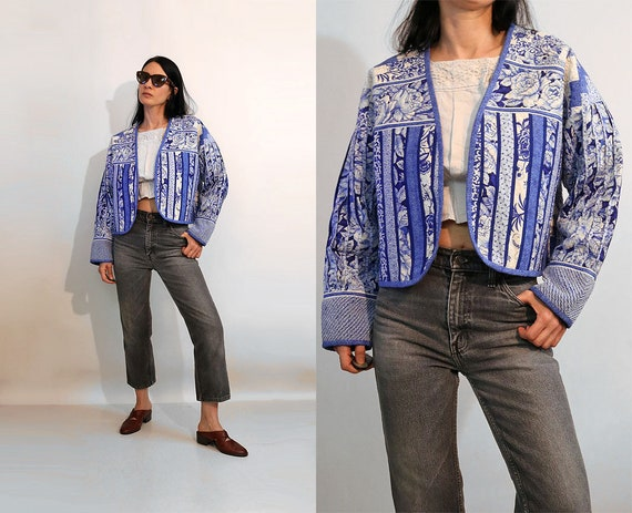 Quilted Patchwork Jacket / Vintage 70s 80s