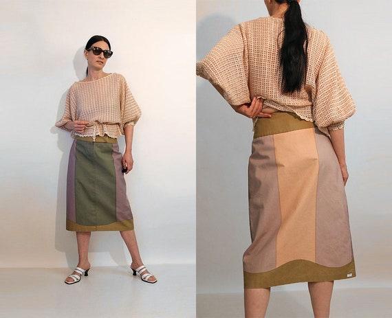 Pastel Colorblock Denim Skirt / Vintage 1980s Dust