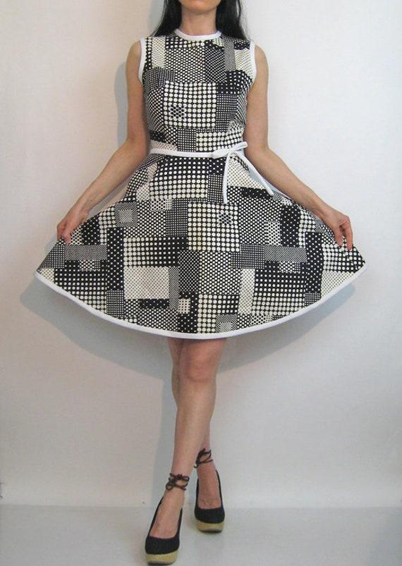 60s Dotted Plaid Cotton Dress / Vintage 1960s Pol… - image 4