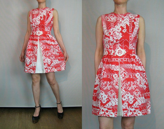 60s Chevron Floral Mini Dress / 60s Cotton Mini Dr