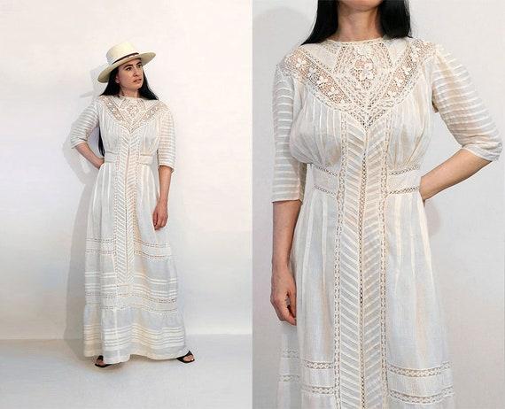 Antique Crochet Cotton Gauze Dress / Vintage Edwar