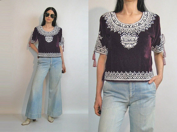 70s Beaded Velvet Top / Vintage 1970s ethnic maroo