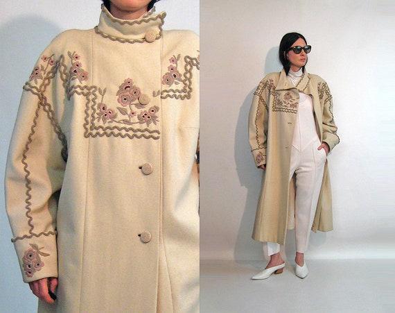 Ecru Embroidered Wool Coat / Vintage 1980s Ethnic