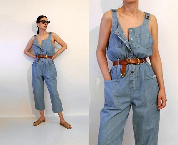 Snap Denim Sleeveless Jumpsuit / Vintage 1980s Cro