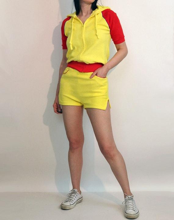 70s Color Block Shorts Set / Vintage 1970s Canary… - image 3