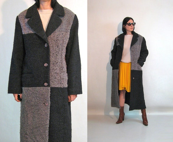 Boucle Patchwork Wool Coat / Vintage 1980s Ukraini