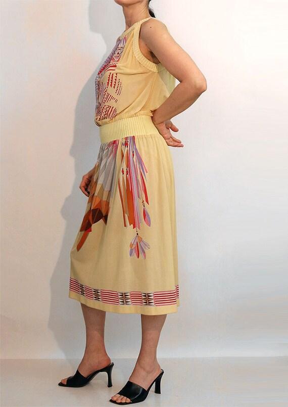 70s Indian Chief Gauze Dress / Vintage 1970s Nati… - image 4