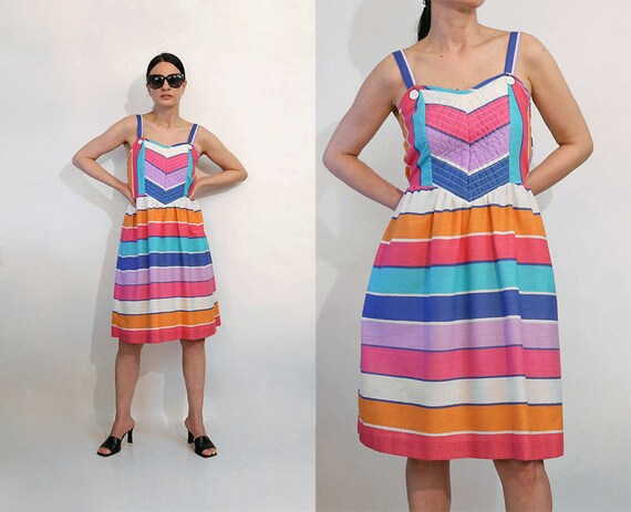 70s Rainbow Quilted Chevron Sundress / Vintage 197