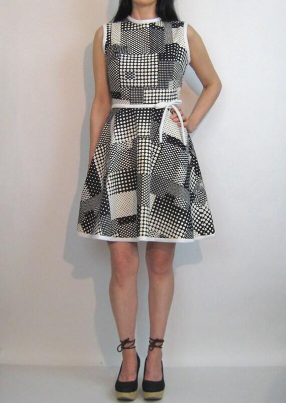 60s Dotted Plaid Cotton Dress / Vintage 1960s Pol… - image 6