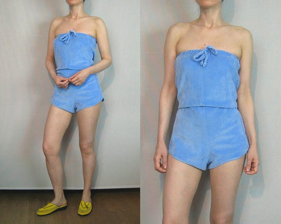 083e02e805cc 70s Sky Blue Velour Shorts Romper   Strapless Romper   Cotton