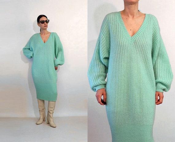 Seafoam Mohair Ribbed Knit Dress / Vintage 1980s S