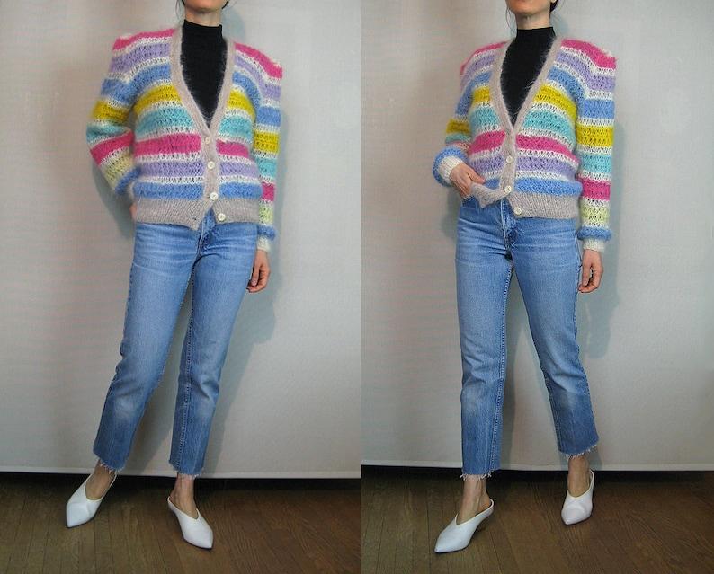 ON SALE Rainbow STRIPED Mohair Cardigan Vintage 70s 80s Handknit Mohair Angora Goat Cardigan Hand Knit Mohair Cardigan Rainbow Striped Sweat