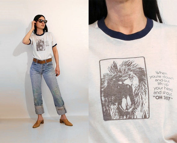 70s Down-and-Out Lion Ringer T-shirt / Vintage Thi