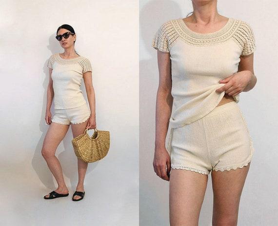 70s Crochet Lace Cotton Gauze Shorts Set / Vintage
