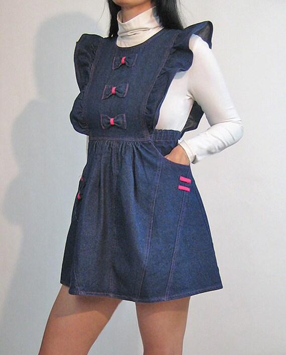 Denim Pinafore Bow Dress / Vintage 1980s Dark Ind… - image 6