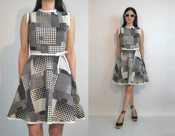 60s Dotted Plaid Cotton Dress / Vintage 1960s Polk