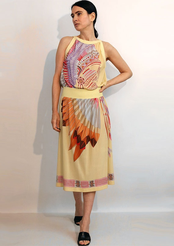 70s Indian Chief Gauze Dress / Vintage 1970s Nati… - image 6