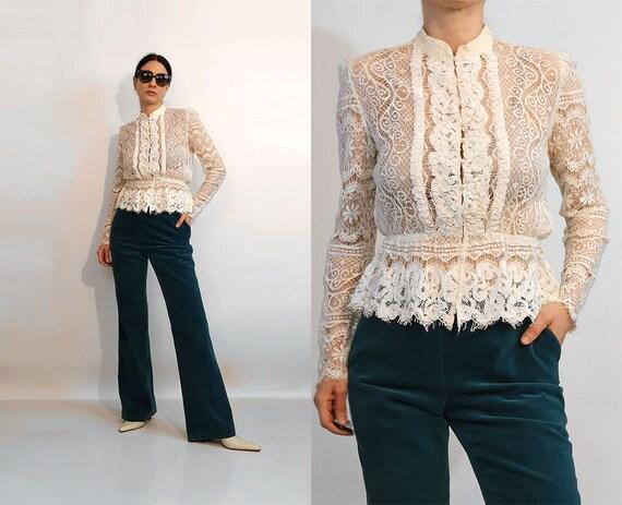 Crochet Cotton Lace Blouse / Vintage 1970s White C