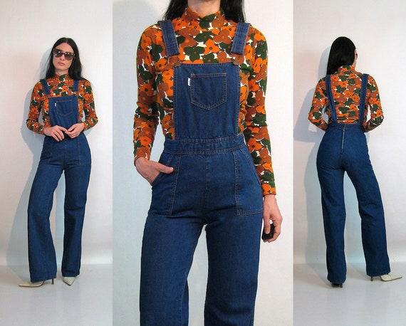 70s Flared Denim Overalls / Vintage 1970s Dark Was