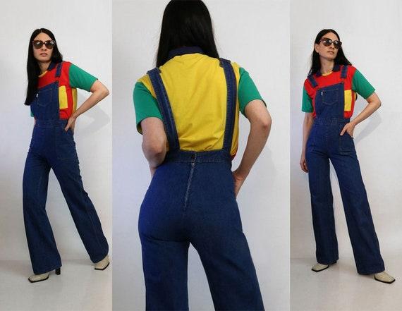 70s Dark Denim Jumpsuit / Vintage 1970s Best Fit D
