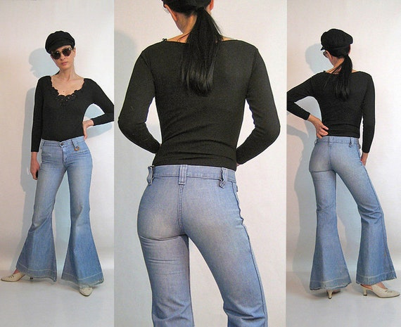 70s Faded Bellbottom Jeans 28x31.5 / Vintage 1970s
