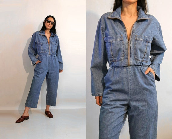 Zip Denim Jumpsuit / Vintage 1970s 1980s Zip Up De