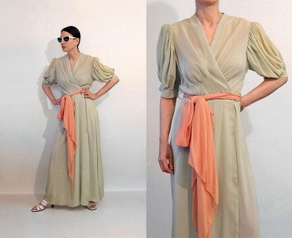 30s Sage Silk Puffed Sleeve Wrap Dress / 1930s 194
