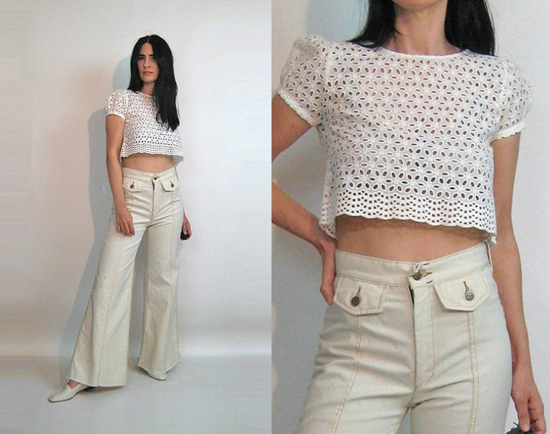 e9e18150c1fd62 Cropped Embroidered Eyelet Lace Top   Vintage 1980s White
