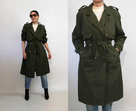 Khaki Green Caped Trench Coat / Vintage 1980s Dark