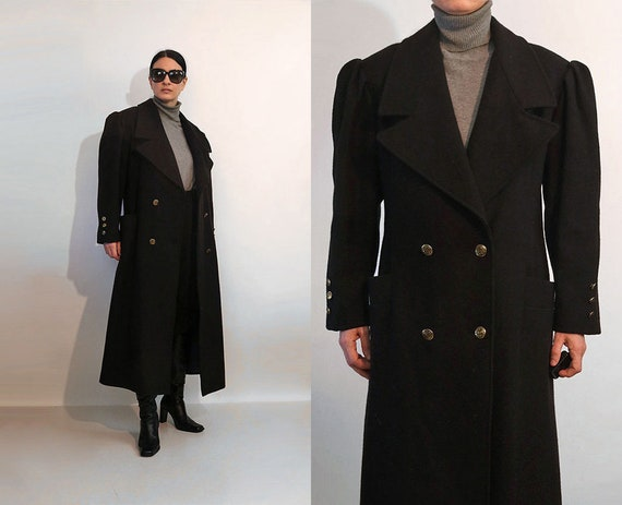 Puffed Sleeve Wool Coat / Vintage 1980s Double Bre