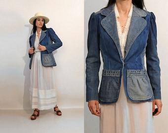 70s Puffed Slv Patchwork Denim Blazer / Vintage 1970s Puff Sleeve Faded Patchwork Denim Jacket