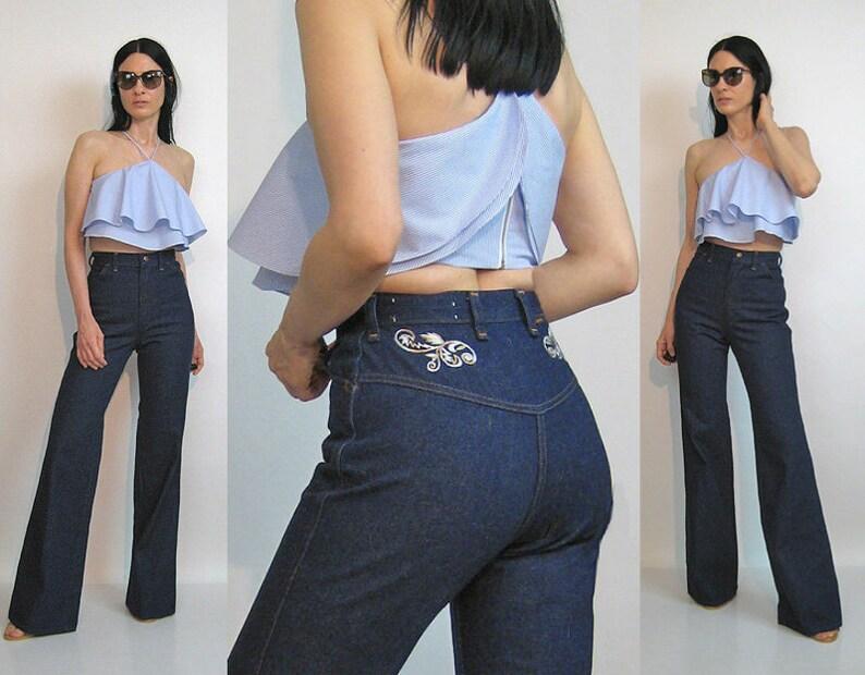 70s Embroidered Indigo Bellbottoms 25.5x34  Vintage 25.5 26 Waist Jeans  Dark Dark Wash Indigo Floral Embroidered Flared Jeans