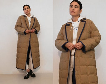 Bill Blass Quilted Goose Down Coat / Vintage 1980s Designer Bill Blass Coffee Cream Quilted Down Puffer Coat / Down Maxi Cocoon Duster Coat