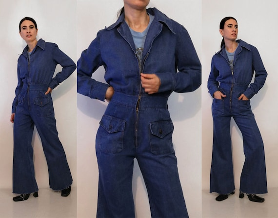 70s Zip Up Denim Flared Jumpsuit / Vintage 1970s D