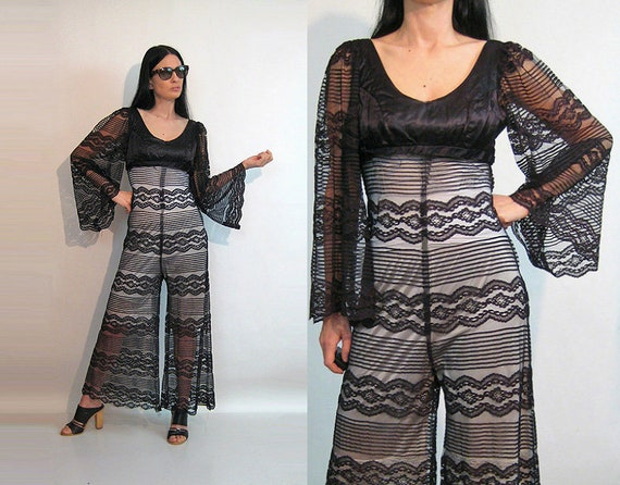 faa0c46f9d 60s Lace Palazzo Jumpsuit   Vintage 1960s Sheer Black Striped