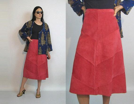 35a798fe6e6ca des années 70 chevron panneau jupe en daim   jupe Vintage des