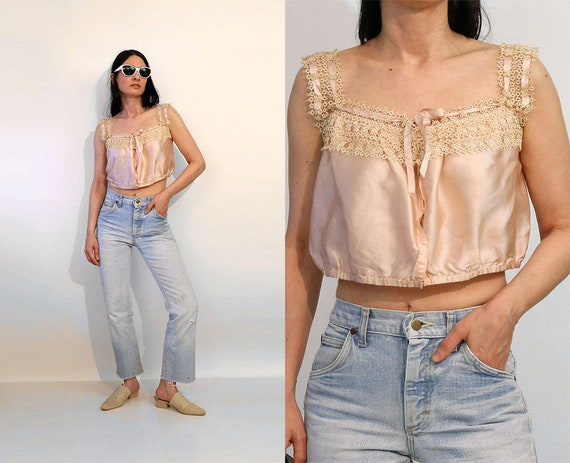 Antique Silk & Crochet Cropped Tank Top / Vintage