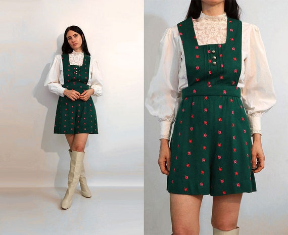 Forest Embroidered Knit Shortalls / Overall Shorts