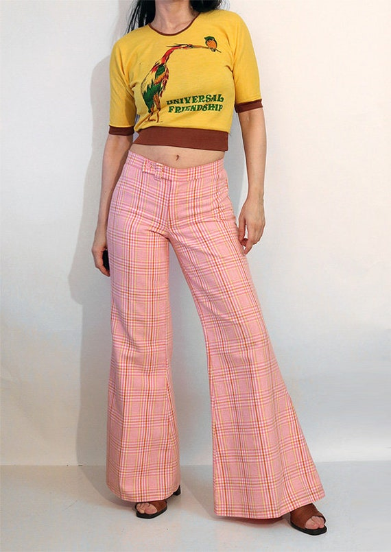 70s Pink Plaid Bell Bottom Pants 29.5x31.5 / Vint… - image 2