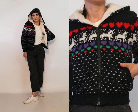 Unicorn n Rainbow Hearts Sherpa Lined Bomber  Vintage Black Multicolored Zip Up Knit Bomber Jacket w Hood  Kawaii Hooded Unicorn Jacket