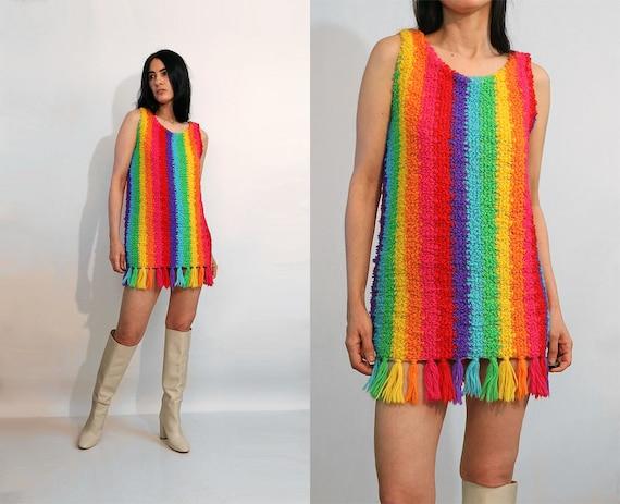 60s Rainbow Knit Wool Dress / Vintage 1960s 1970s